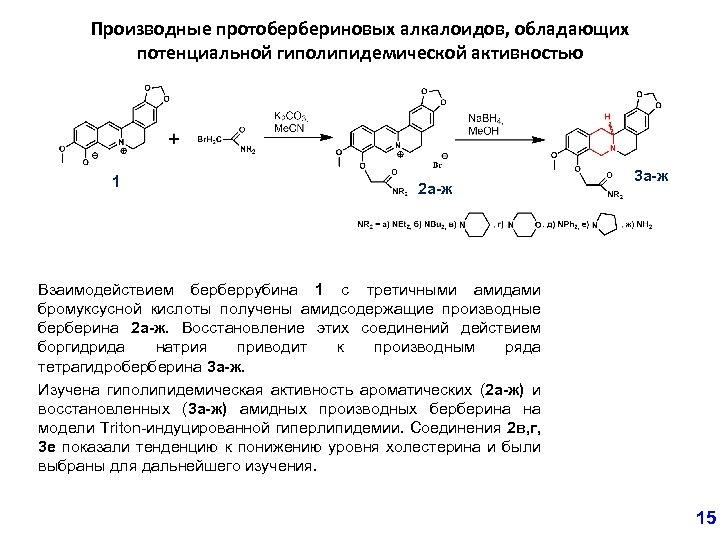 Производные протобербериновых алкалоидов, обладающих потенциальной гиполипидемической активностью 1 2 а-ж 3 а-ж Взаимодействием берберрубина