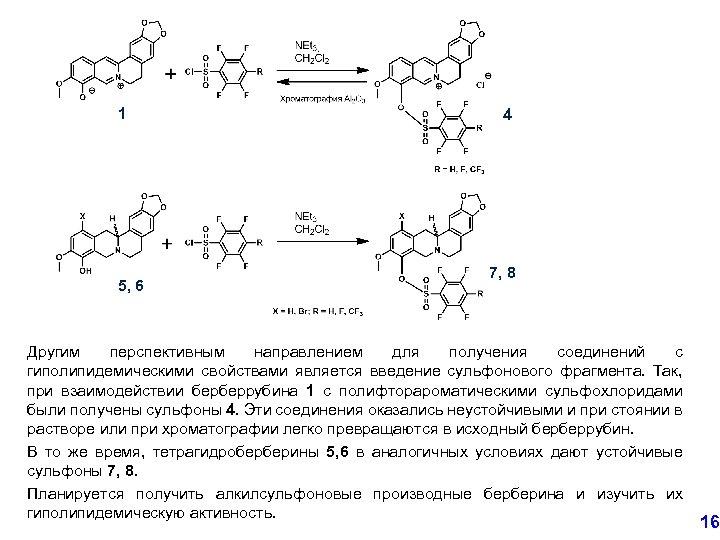 1 5, 6 4 7, 8 Другим перспективным направлением для получения соединений с гиполипидемическими