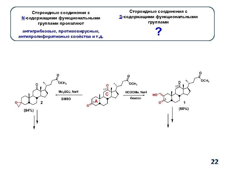 Стероидные соединения с N-содержащими функциональными группами проявляют антигрибковые, противовирусные, антипролиферативные свойства и т. д.
