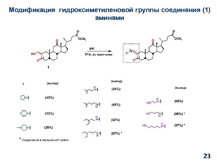 Модификация гидроксиметиленовой группы соединения (1) аминами 23