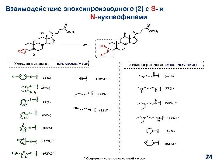 Взаимодействие эпоксипроизводного (2) с S- и N-нуклеофилами 24