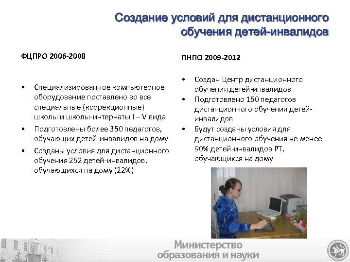 Создание условий для дистанционного обучения детей-инвалидов ФЦПРО 2006 -2008 • • • Специализированное компьютерное