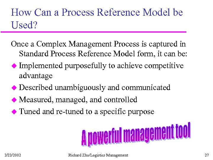 How Can a Process Reference Model be Used? Once a Complex Management Process is