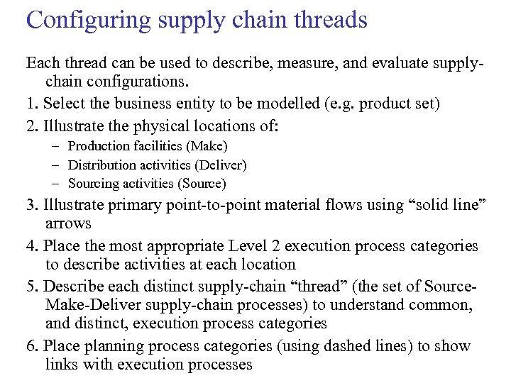 Configuring supply chain threads Each thread can be used to describe, measure, and evaluate