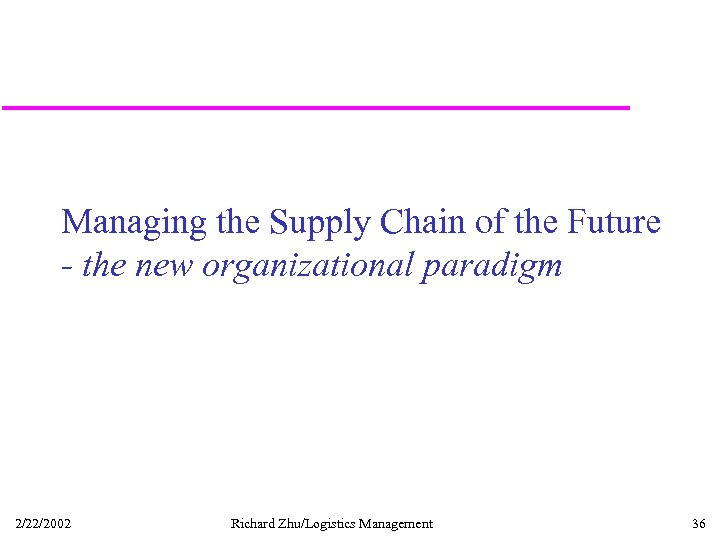 Managing the Supply Chain of the Future - the new organizational paradigm 2/22/2002 Richard