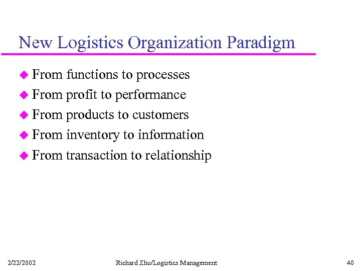 New Logistics Organization Paradigm u From functions to processes u From profit to performance