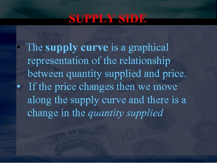 SUPPLY SIDE • The supply curve is a graphical representation of the relationship between