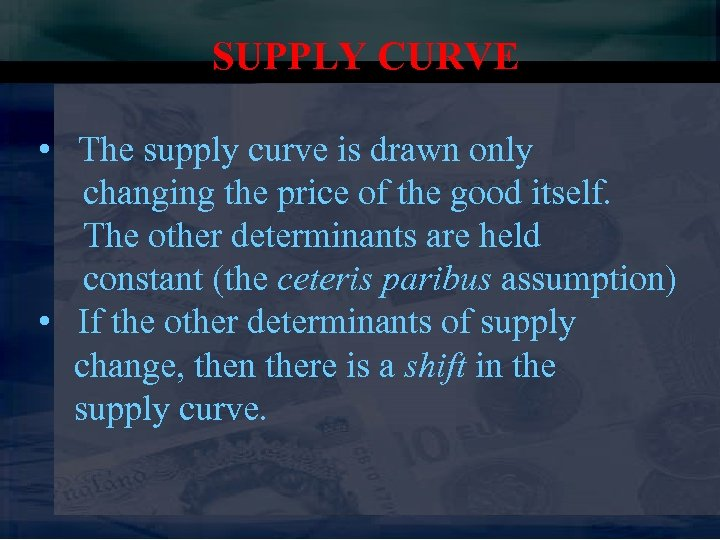SUPPLY CURVE • The supply curve is drawn only changing the price of the