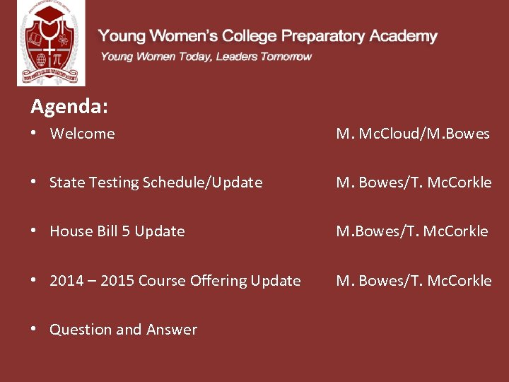 Agenda: • Welcome M. Mc. Cloud/M. Bowes • State Testing Schedule/Update • House Bill