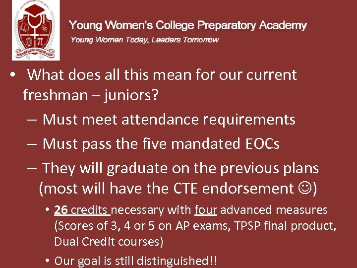 • What does all this mean for our current freshman – juniors? –