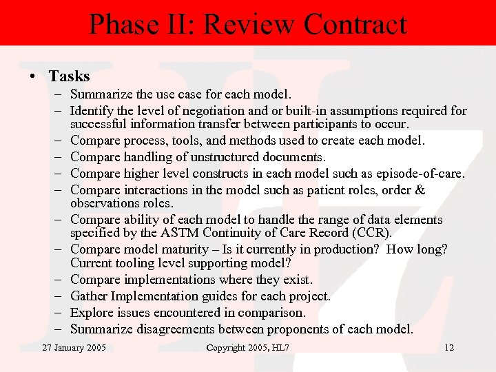 Phase II: Review Contract • Tasks – Summarize the use case for each model.