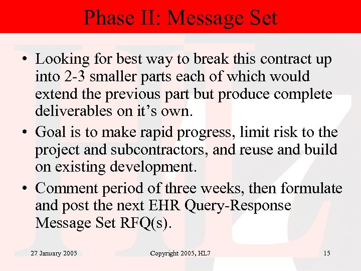 Phase II: Message Set • Looking for best way to break this contract up