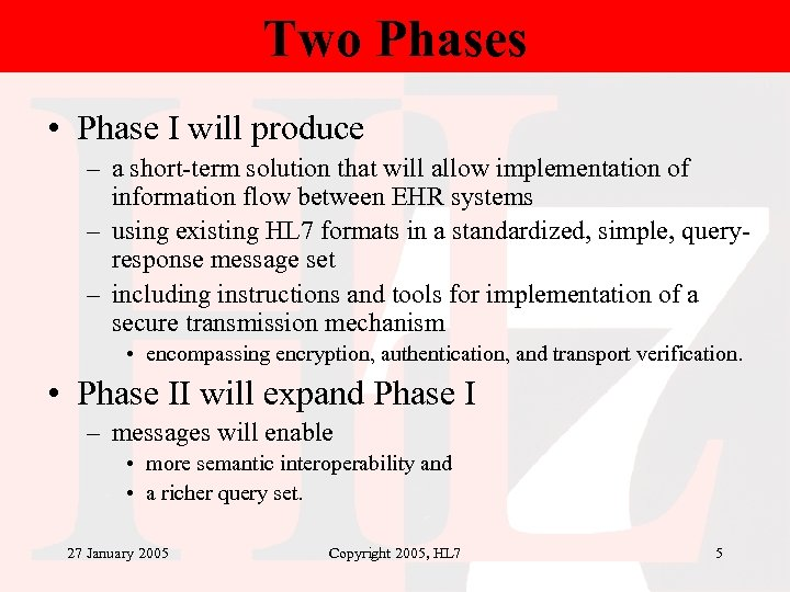 Two Phases • Phase I will produce – a short-term solution that will allow