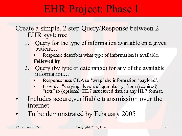 EHR Project: Phase I Create a simple, 2 step Query/Response between 2 EHR systems: