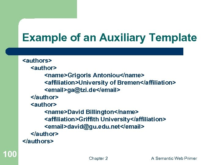 Example of an Auxiliary Template <authors> <author> <name>Grigoris Antoniou</name> <affiliation>University of Bremen</affiliation> <email>ga@tzi. de</email>