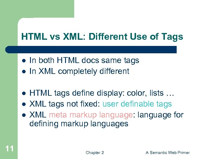 HTML vs XML: Different Use of Tags l l l 11 In both HTML