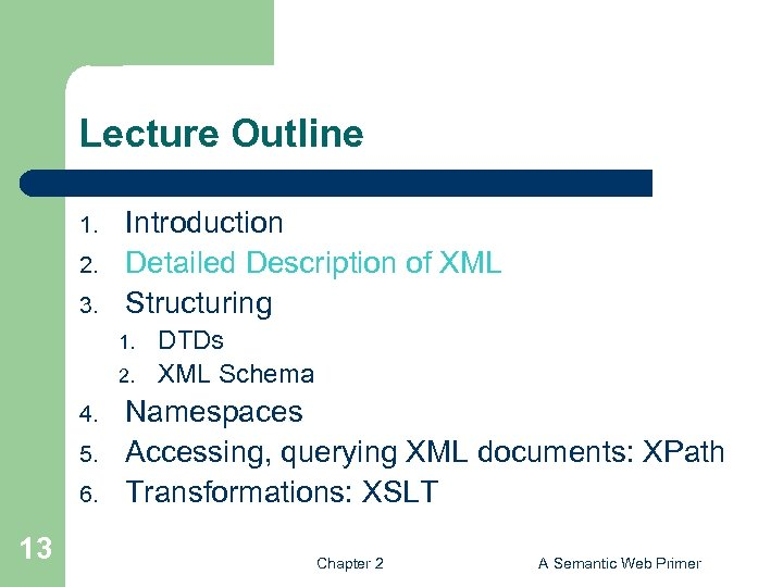 Lecture Outline 1. 2. 3. Introduction Detailed Description of XML Structuring 1. 2. 4.
