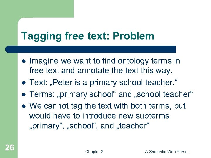 Tagging free text: Problem l l 26 Imagine we want to find ontology terms