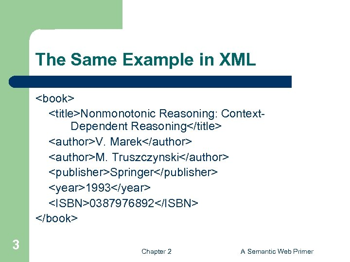 The Same Example in XML <book> <title>Nonmonotonic Reasoning: Context. Dependent Reasoning</title> <author>V. Marek</author> <author>M.
