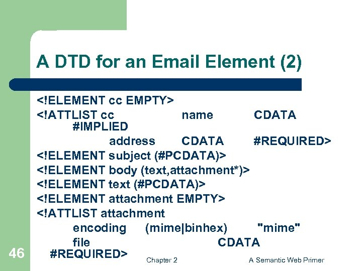 A DTD for an Email Element (2) 46 <!ELEMENT cc EMPTY> <!ATTLIST cc name