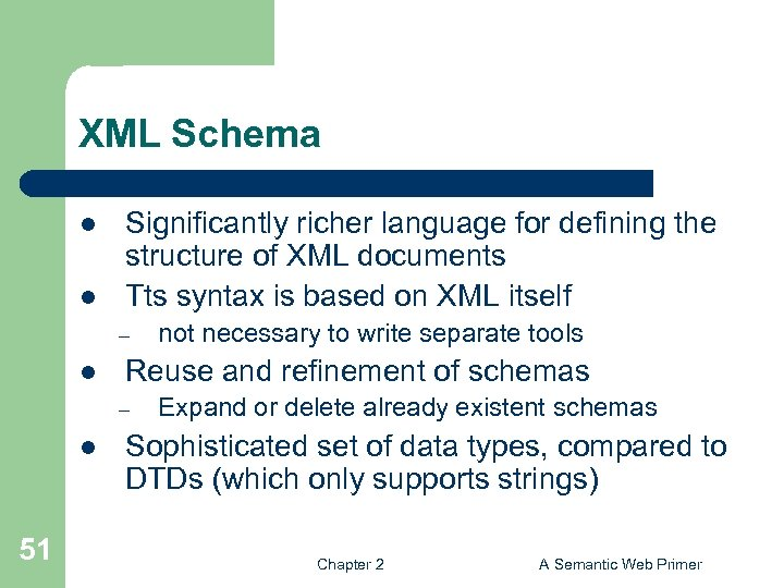 XML Schema l l Significantly richer language for defining the structure of XML documents