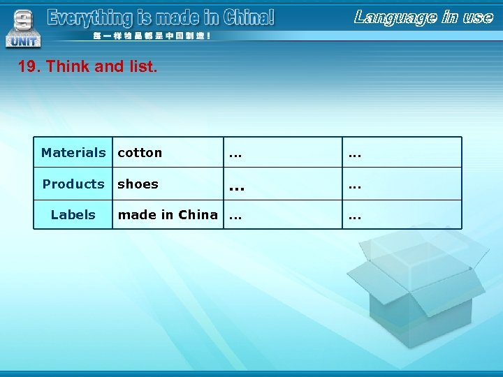 19. Think and list. Materials cotton . . . Products . . . made