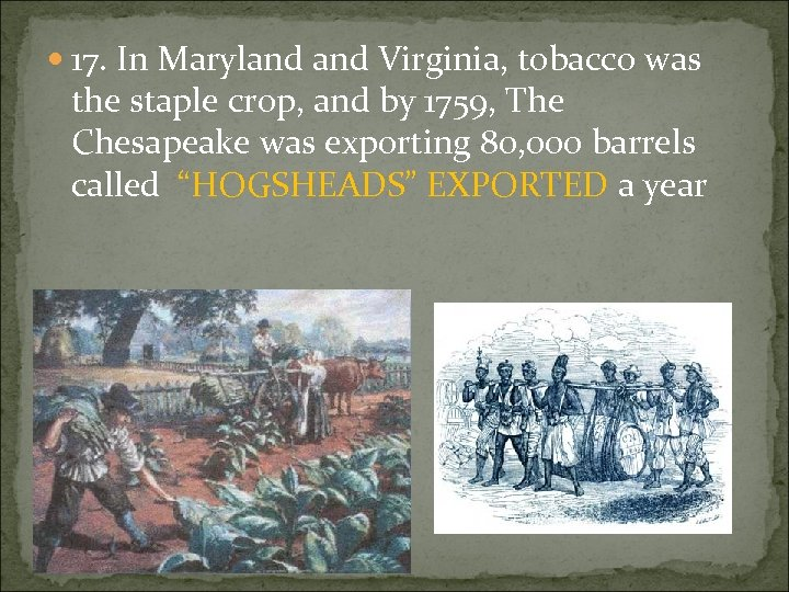 17. In Maryland Virginia, tobacco was the staple crop, and by 1759, The