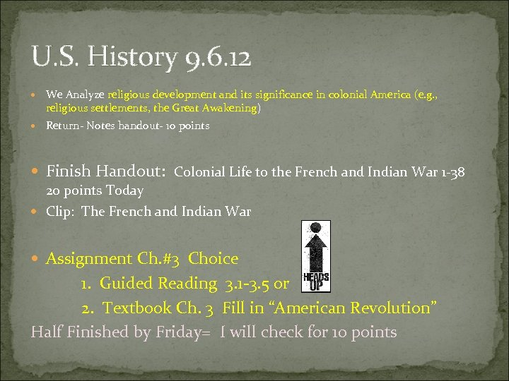 U. S. History 9. 6. 12 We Analyze religious development and its significance in