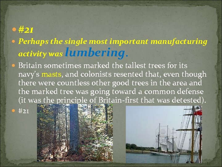 #21 Perhaps the single most important manufacturing activity was lumbering. Britain sometimes marked
