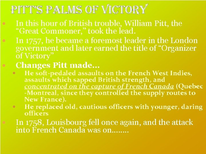 """Pitt's Palms of Victory In this hour of British trouble, William Pitt, the """"Great"""