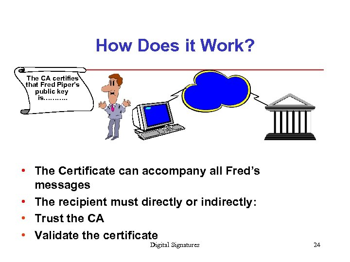 How Does it Work? The CA certifies that Fred Piper's public key is………. .