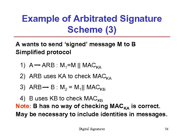Example of Arbitrated Signature Scheme (3) A wants to send 'signed' message M to