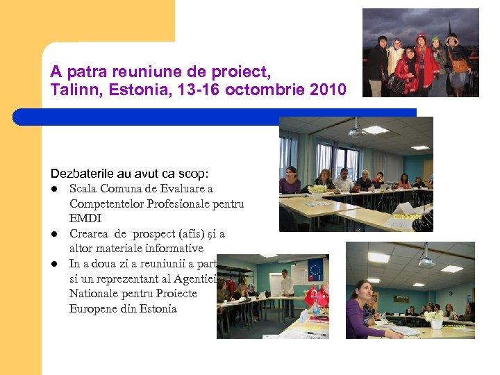 A patra reuniune de proiect, Talinn, Estonia, 13 -16 octombrie 2010 Dezbaterile au avut