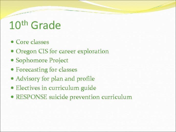 th 10 Grade Core classes Oregon CIS for career exploration Sophomore Project Forecasting for