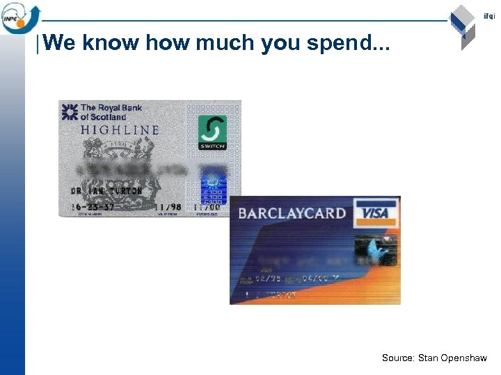 We know how much you spend. . . Source: Stan Openshaw