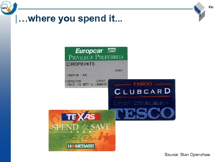 …where you spend it. . . Source: Stan Openshaw