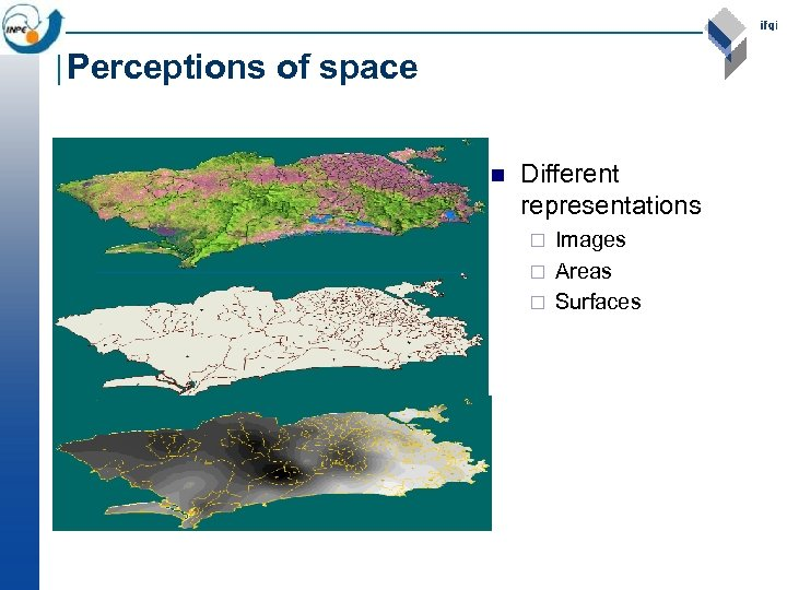 Perceptions of space n Different representations Images ¨ Areas ¨ Surfaces ¨
