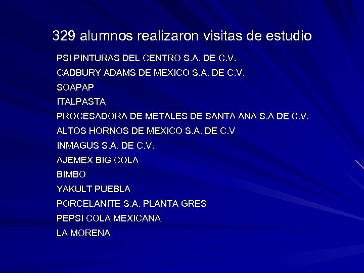 329 alumnos realizaron visitas de estudio PSI PINTURAS DEL CENTRO S. A. DE C.