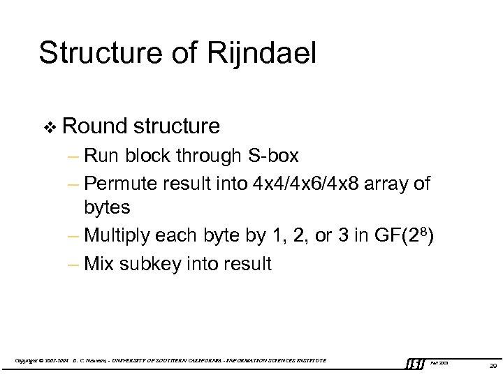 Structure of Rijndael v Round structure – Run block through S-box – Permute result