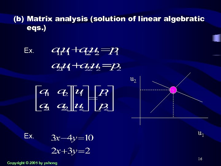 (b) Matrix analysis (solution of linear algebratic eqs. ) Ex. u 2 Ex. Copyright