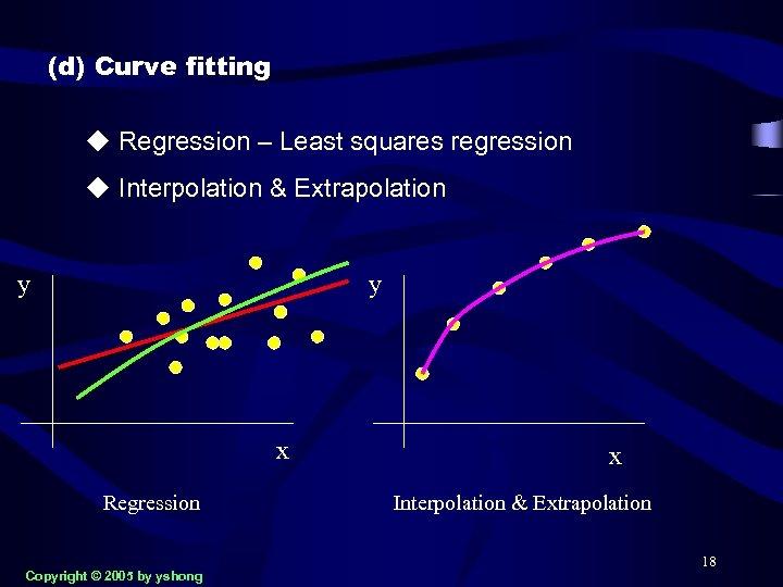 (d) Curve fitting u Regression – Least squares regression u Interpolation & Extrapolation y