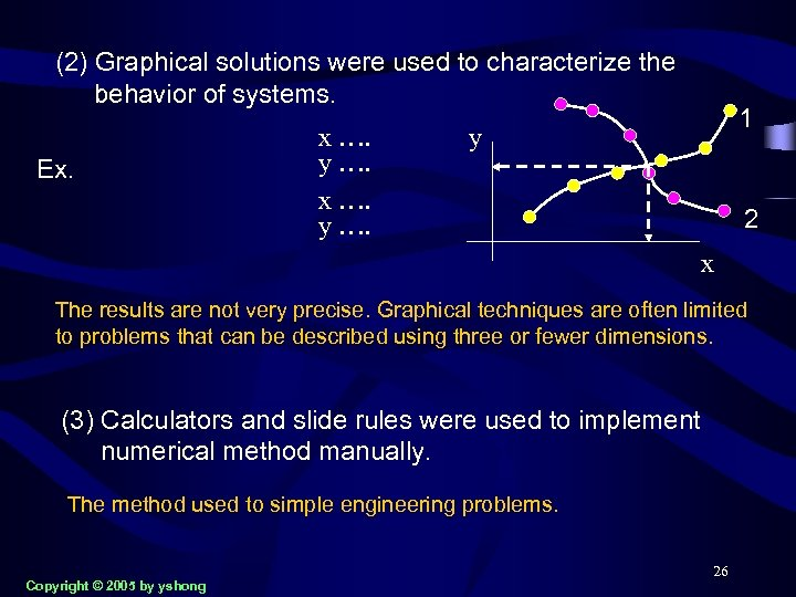 (2) Graphical solutions were used to characterize the behavior of systems. Ex. x ….