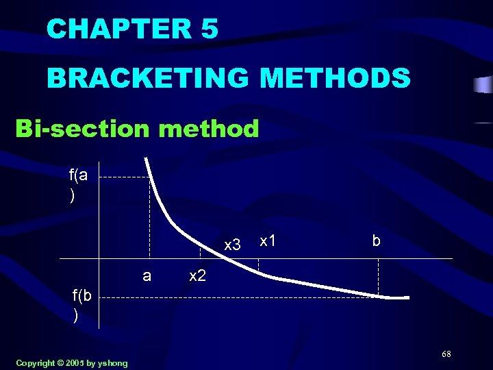 CHAPTER 5 BRACKETING METHODS Bi-section method f(a ) x 3 a x 1 b
