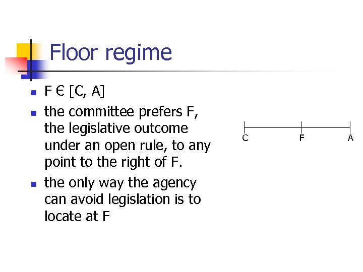 Floor regime n n n F Є [C, A] the committee prefers F, the