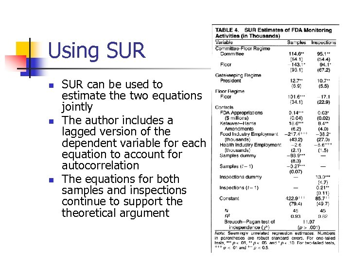 Using SUR n n n SUR can be used to estimate the two equations