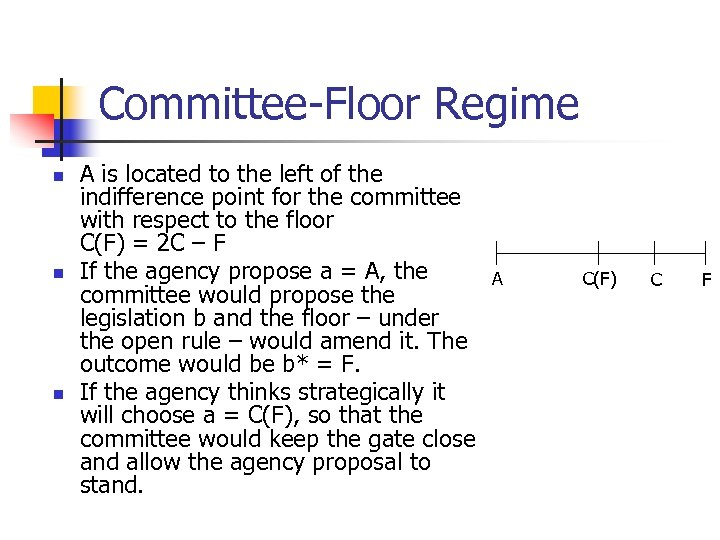Committee-Floor Regime n n n A is located to the left of the indifference