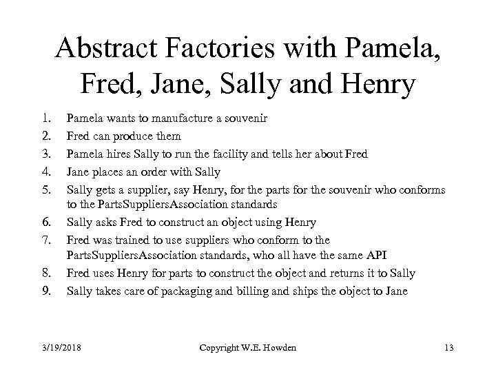Abstract Factories with Pamela, Fred, Jane, Sally and Henry 1. 2. 3. 4. 5.