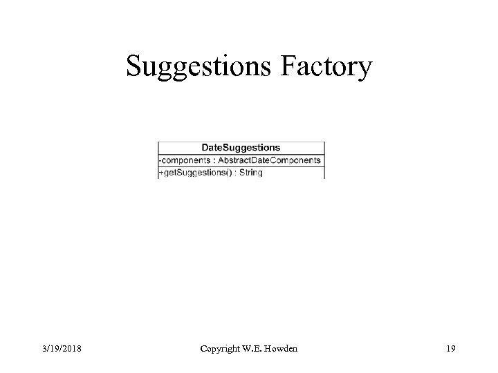 Suggestions Factory 3/19/2018 Copyright W. E. Howden 19