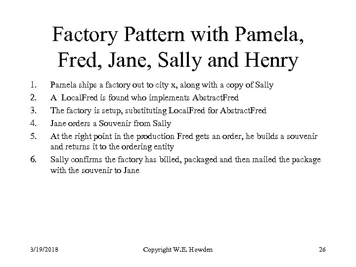 Factory Pattern with Pamela, Fred, Jane, Sally and Henry 1. 2. 3. 4. 5.