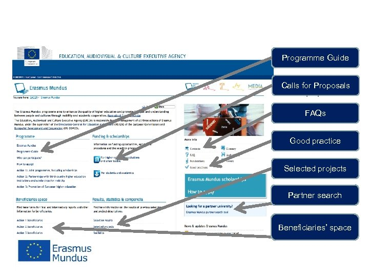 More information Programme Guide Calls for Proposals http: //eacea. ec. europa. eu/erasmus_mundus/index_en. php FAQs
